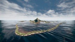 An computer generated image of an island in tropical seas.