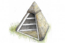 A hand-drawn and coloured image of a pyramid-shaped shelter, comprised of a wooden frame and thatched hay