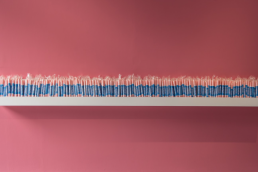A pink painted wall and a shelf holding large number of sticks of rock (rolled candy)