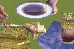 collage, spoon with cream, slice of cake, blue picnic cloth and a upsidedown plate and hand